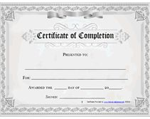free printable certificate of completion awards - Free Certificate Of Completion Templates