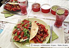 Pulyka fajitas Tex Mex, Fajitas, Hamburger, Chicken Recipes, Tacos, Cheddar, Turkey, Guacamole, Pizza