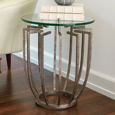 "GRATS DÉCOR | Spoke 17""Dia Table - Hammered Nickel"