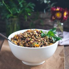Harvest Squash & Wild Rice with Pecans & Cranberries - the perfect Thanksgiving vegetarian main.