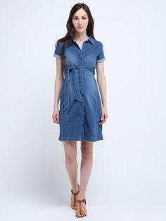 Robe de grossesse style chemise ceinturée denim 82.4926  QUEEN MUM - Photo