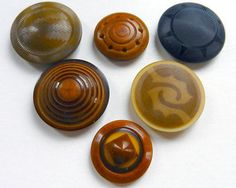Lot of 6 Antique Vegetable Ivory Buttons 2-Part Carved Pierced and Dyed