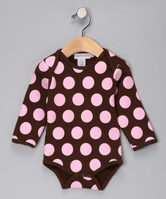 Take a look at this Brown & Pink Polka Dot Long-Sleeve Bodysuit - Infant by Infinitely Sweet on #zulily today!