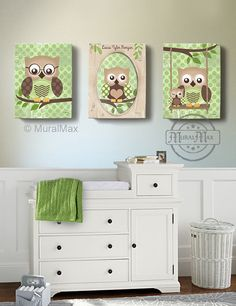 Owl Kids Art, Owl Decor, Art for children Owls, Nursery Art, Set of 3 Nursery Canvas Art , 16x20, Baby Boys Room Art Print via Etsy