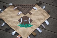 Baby football applique security lovey blanket with by littlebubbys, $13.00