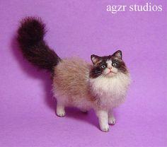 OOAK 1:12 Dollhouse Miniature Cat Ragdoll Kitten Furred Realistic Kitty Handmade