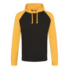 Just Hoods JH009 Jet Black and Gold Baseball Hoodie - £15.75