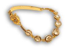 Rough cut diamond slices from India (called 'Polki') set in an 18 karat gold bracelet. Polki Sets, Bracelet Designs, Rough Cut, Diamond Cuts, Bracelets, Gold, Diamonds, India, Jewelry