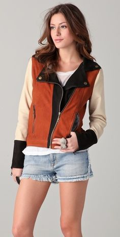 Chaser  Colorblock Leather Moto Jacket  $858  No doubt this would become my favorite jacket whenever the weather permitted.