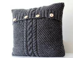 Housse de coussin gris tricoté à la main  tricotés à par pillowlink
