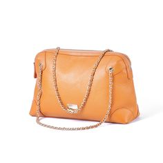 Oversize Tangerine Leather Shoulder Bag with Leather-Wrapped Chain Strap | XIAOZHI  www.icarryalls.com
