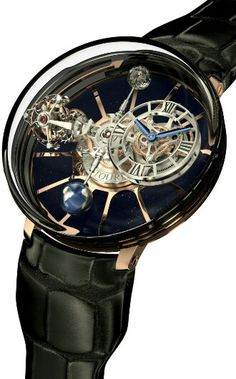 "Jacob & Co. Astronomia Tourbillon Watch - Jacob & Co. was one of the first watch makers to understand the power of ""insane watch,"" that being a mechanical watch of epic complication meant solely to wow and impress in a manner akin to the tone and content of many rap music videos. These are designed to be ""ultra-luxury lifestyle"" watches for people who buy new yachts when they are bored and surfing eBay on their phone while waiting for their personal bankers to exit the toilet of the yacht…"