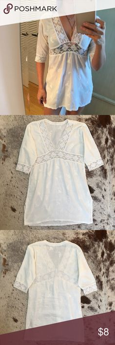"""Effortlessly chic beach cover up White bathing suit dress, sheer, relaxed. Wore it in the South of France & Rio. Perfect for walking into an upscale hotel lounge or restaurant, after the pool/beach. Has a light pink mark on the side, and two tiny snags on the back (as pictured) on the sides. No tags, so I'm guessing size small. Measures 34"""" chest, 29"""" length. Dresses"""