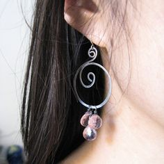 Pink Quartz Sterling Silver Spiral Earrings by misluo on Etsy