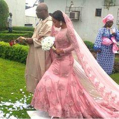 Nigerian wedding pink colored wedding dress by Yemi Shoyemi Muslim Wedding Gown, Nigerian Wedding Dress, Muslimah Wedding Dress, African Wedding Attire, Wedding Dress Cake, Nigerian Weddings, African Weddings, Nigerian Bride, Colored Wedding Gowns