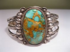 Lot 1 - Early Fred Harvey Navajo Ingot Silver Bracelet w Royston Turquoise
