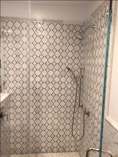 Trellis carrara marble shower