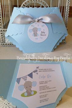 Baby-Elefant Baby-Dusche Einladung blau und grau