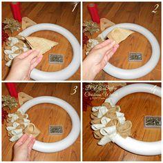 Diy Burlap Christmas Wreath Diy tutorial christmas burlap - See more beautiful DIY Chrsitmas Wreath ideas at DIYChristmasDecorations.net!