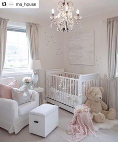 "11 Likes, 1 Comments - My Dream Home (@mydreamhomeinsta) on Instagram: ""over this soft, beautiful nursery by @ma_house #nursery #babygirl #baby #pinknursery #gorgeous…"""