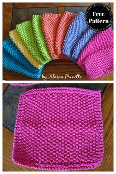 Dishcloth Knitting Patterns, Knit Dishcloth, Knitting Stitches, Free Knitting, Seed Stitch, Free Pattern, Simple, Crochet, Easy
