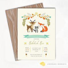 Woodland Baby Shower Invitation, Fox Invitation by Lemonade Moments // Relevant to: Birthday, Bridal Shower, Baby Shower, Party, Invitation, Invite, Printable, Ideas
