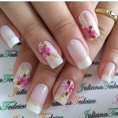 New Nails Art Acrylic Prom 21 Ideas Pink Nail Art, Flower Nail Art, New Nail Art, Nail Deco, Metallic Nails, Pretty Nail Art, Super Nails, Stylish Nails, Cute Nail Designs