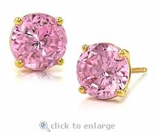 Cz Pink Round Stud Cubic Zirconia Earrings 14k Yellow Gold By Ziamond Our Earring