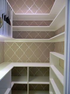 Love the spot for cookie sheets in this pantry and also the shallow shelves for canned goods.