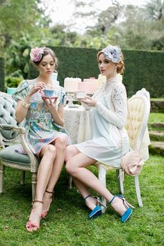 ☼ tea time. Love these chairs outside!
