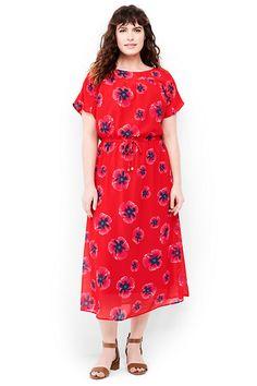 57e88abd6cf Lands  End Women s Plus Size Dolman Sleeve Woven Midi Dress