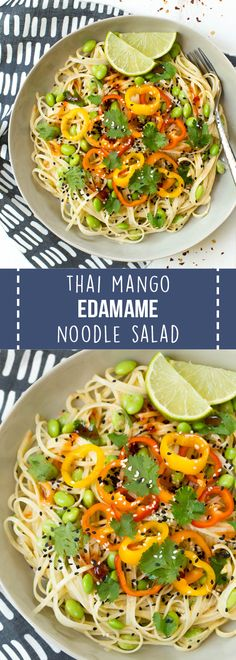 Thai Mango Edamame Noodle Salad Bowls are a sweet and spicy meal packed with wholesome carbohydrates and plant-based protein! The entire meal comes together easily and is perfect for meal prep.#mango #superfood #healthy #healthyrecipes #recipe #lunch #dinner #nourishingsuperfoodbowls