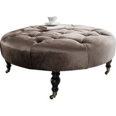 Chalon Velvet Footstool in Mocha