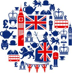 British Icon Montage Royalty Free Stock Vector Art Illustration