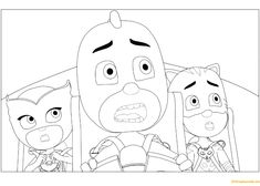 Owlette, Gekko and Catboy From PJ Masks Coloring Page - Free Coloring Pages Online Tsum Tsum Coloring Pages, Pj Masks Coloring Pages, Whale Coloring Pages, Cartoon Coloring Pages, Coloring Pages To Print, Free Printable Coloring Pages, Coloring Book Pages, Coloring Pages For Kids, Coloring Sheets