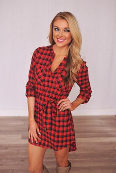 Plaid Shirt Dress- Red