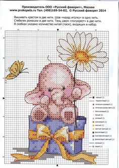 Cross stitch pink baby elephant and box 2