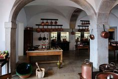 Traditional kitchen in the national palace, Sintra, Portugal. #homeandstyleliving