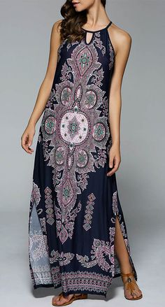 Bohemian Side Slit Tribal Maxi Dress