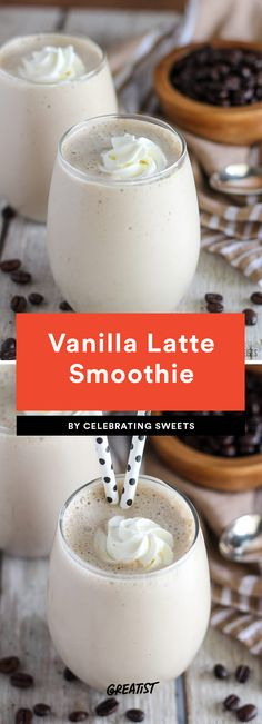 7 High-Protein Coffee Shakes That Will Make Any Morning Better Vanilla Latte Smoothie Like a vanilla bean frappe but sweetened with banana and honey instead of a crazy amount of sugar. The smoothie also swaps out an actual cup of coffee for coffee-flavore Protein Smoothies, Protein Shake Recipes, Apple Smoothies, Smoothie Drinks, Protein Coffee Shake, Smoothies Coffee, Milkshake Recipes, Milkshakes, Breakfast Protein Shakes