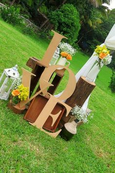 garden wedding letter decorations  Read more at: