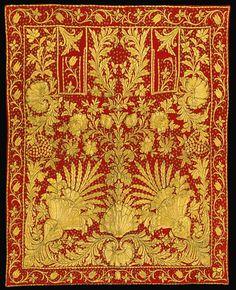 ottoman-empire:  AN OTTOMAN RED-GROUND SADDLE-COVER, MID-19TH CENTURYBir Osmanlı İşlemeli Örtü, 19. YY Ortası