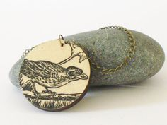 Recycled wood vintage book necklace  Bird by IfeelNatty on Etsy, $16.50