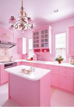 Pretty Pink Room Design Kitchen With Cabinets In Pink And Island And White Countertop And Chandelier And Electric Cooktops And Hood : Adorable Pink Room Design In The House , Home Design and Decor Küchen Design, Home Design, Interior Design, Pink Design, Design Ideas, Design Projects, Decoration Shabby, Pink Decorations, Christmas Decorations