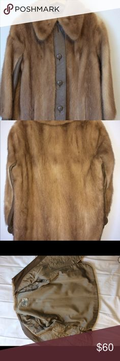 Women's Fur Coat Gruidl Minneapolis brand vintage women's coat. Handmade. Real fur and leather. Sold as is as top button is missing. Professionally cleaned. Gruidl Jackets & Coats