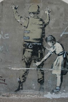 Banksy artwork on the Israel - Palestine/West Bank barrier at Bethlehem Grafitti Street, Street Art Banksy, 3d Street Art, Amazing Street Art, Street Artists, Graffiti Art, Expressive Art, Environmental Art, Urban Art