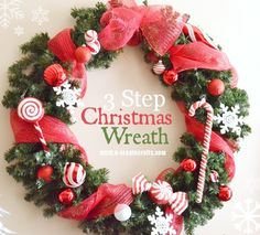 """I went down to my basement to see if I had anything to make a Christmas wreath with because my mantel needed was pretty blank and I really wanted something that would coordinate with my Christmas tree. I found one of those artificial pine wreaths with nothing on it and thought, """"okay lets see what …"""