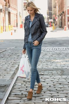 Wearing denim from head to toe works best when you mix up the washes. Throw on a chic jacket and wear-everywhere booties and you've got yourself an OOTD. Featured product includes: Levi's faux leather moto jacket, chambray shirt and skinny jeans, SONOMA Goods for Life ankle boots. Mix up your fall style at Kohl's. #KohlsLayers