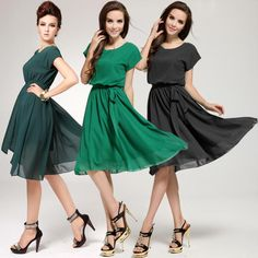 New Brand 2014 Women Summer Casual Dress Green&Black Short Sleeve Chiffon Cute knee-length Dress Plus Size XL XXL XXXL US $16.88