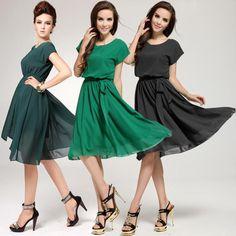 New Brand 2014 Women Summer Casual Dress Green&Black Short Sleeve Chiffon Cute knee-length Dress Plus Size XL XXL XXXL US $16.88